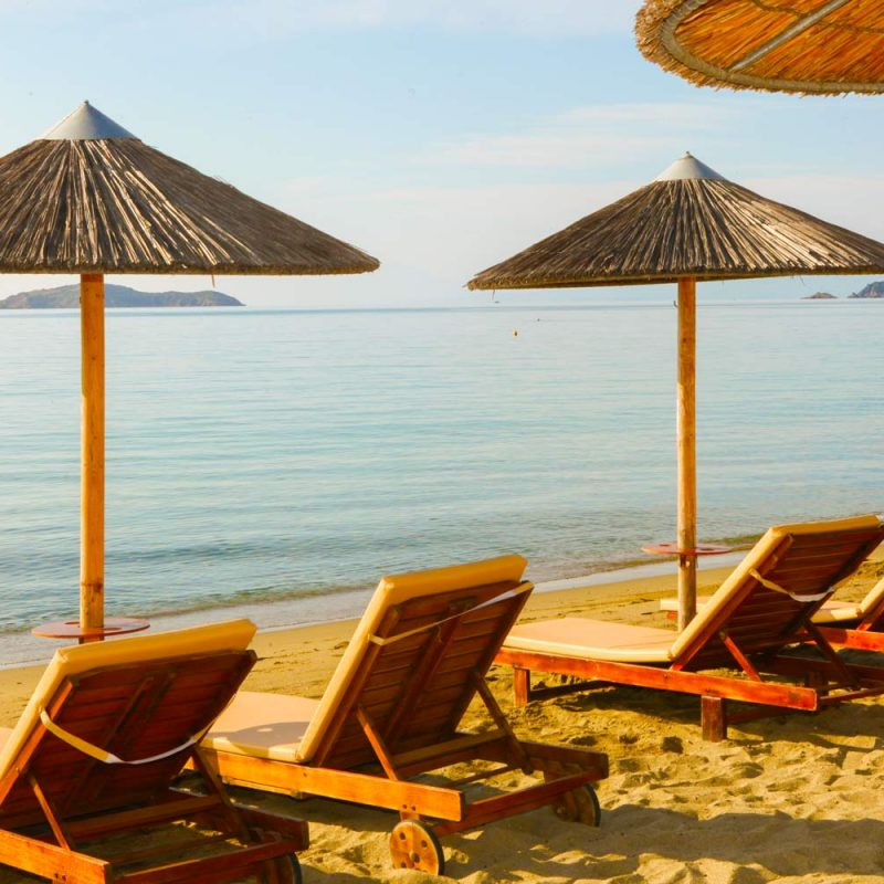 Sun Beds on the Beach - Angeliki Beach Hotel