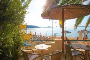 Outdoor Lounge Beach View - Swell Beach Bar in Skiathos Island